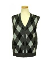 Microfiber V-Neck Sweater Vest In Grey / Black / Light Grey
