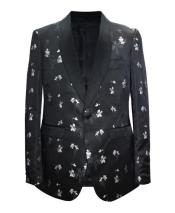Black and White Floral Tuxedo Blazer