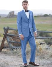 Sky Blue ~ Powder Steel Blue Suit 2 button Vested Flat Front