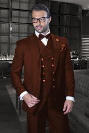 Mens Brown Peak Lapel Double Breasted Side Vents Suit