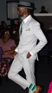 Mens White One Button Suit on