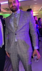 Peak Lapel Pinstrip Pattern Gray Suit