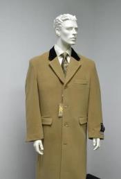 Wool & Cashmere Full Length Velvet Collar Beige ~ Camel  and brown ~ Khaki
