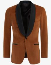 Brown ~ Cognac Velvet Tuxedo velour Jacket