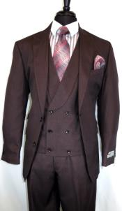Stitch Double Breasted Peak Lapel Peak Lapel Burgundy Suit With Double