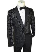 Black Sequined Velvet / Satin Modern slim fit cut