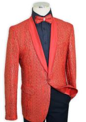 Red / Metallic Gold Embroidered Satin Classic Slim Fit Cut Jacket