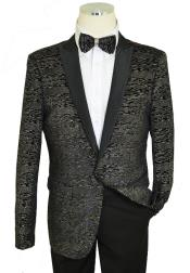 Cielo Black / Metallic Multi-Color Lurex Classic SlimFit Cut Velvet Jacket /
