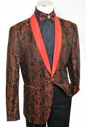 Red / Black / Metallic Gold Laced Satin Classic Slim Fit