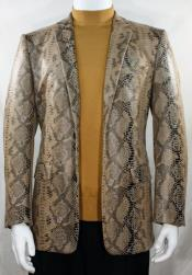 Cream Alligator Python Snakeskin Print Snake Jacket