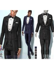 Striped Pinstriped Tuxedo Suit Jacket and Pants and Vest