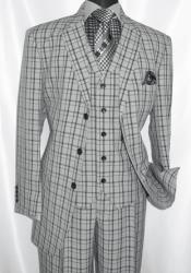 3 Button 3 Piece Checkered Suit Mens Grey Plaid 1920s Fortino 5802V6