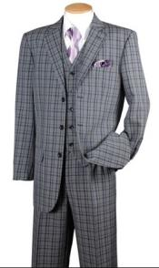 Fortino Mens Navy Plaid 1920s Style