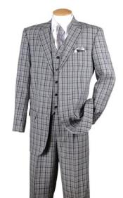 Mens Black Plaid 1920s Style 3 Piece Fashion Suit 5802V6