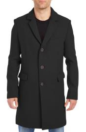 Black Four Button Cuffs Wool Fabric Big and Tall Peacoat