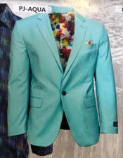 Mens One Button Aqua  Blazer