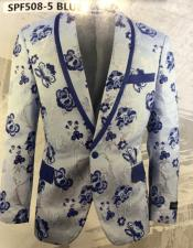 and Navy blue paisley Blazer - Sport Coat / Tuxedo Dinner Jacket