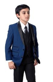 Matching Father and Son Blue Two Front Flap Pockets Suit