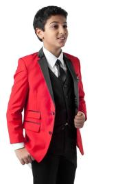 Father and Son Red Ticket Pocket Solid Pattern Suit