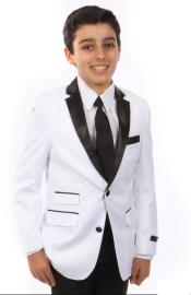 Father and Son White Notch Lapel One Chest Pocket Suit