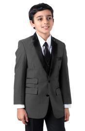Matching Father and Son Charcoal Two Button Suit