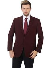 Mens Burgundy Classic Fit Sport Coat