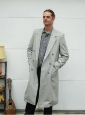 Wool Light Grey Double Breasted Overcoat Long Mens Dress Topcoat -