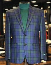 Green And Blue Tartan Pattern Blazer