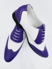 Leather Two Toned Wing Tip Oxford Lace Up Shoe Blue