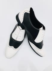 Leather Two Toned Wing Tip Oxford Lace Up Shoe Black