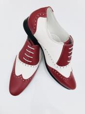 Leather Two Toned Wing Tip Oxford Lace Up Shoe Burgundy