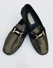 Two Toned Slip On Black ~ Gold Shoe