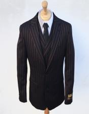 Mens Black ~ Red Pin Stripe Pattern Suit