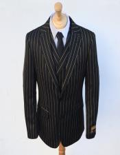 Bold Stripe Gangster Suit Double Breasted Suit Black ~ Gold