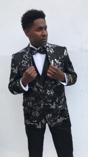 Mens Wedding / Prom Slim Fit Blazer Black ~ White