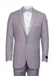 Gray Satin Peak Lapel with Fabric Trim Graduation Suit For Boy
