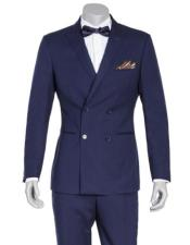 Blue Four Button Double Breasted Graduation Suit For boy / Guys