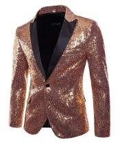 Rose Gold One Buttons Shiny Sequins Pattern Suits / Tuxedo