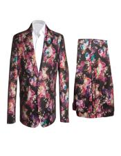 Fashion Suits Black Fuchsia