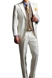 Single Breasted Peak Lapel Ivory Costumes Outfit Male Attire Suit