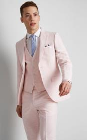 Single Breasted Peak Lapel Costumes Outfit Male Attire Peach Suit
