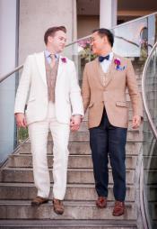 Single Breasted Peak Lapel Costumes Outfit Male Attire Peach Cream Suit