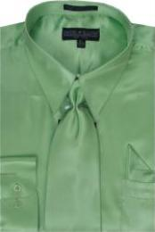 SKU#KA347 Men's lime mint Green ~ Apple ~ Neon Bright Green Shiny Silky Satin Dress Shirt/Tie