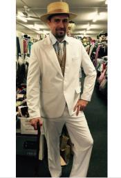 Single Breasted Peak Lapel Costumes Outfit Male Attire Cream Suit