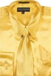 SKU#BF770 Men's Gold Shiny Silky Satin Dress Shirt/Tie