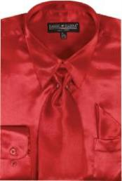 SKU#LO712 Men's Red Shiny Silky Satin Dress Shirt/Tie