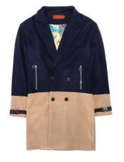 Breasted Overcoat - Wool Peacoat - Three Quarter Topcoat Navy Blue