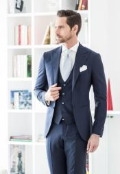 Mens Wedding Striking Custom Made Blue Wedding Suits Costumes Outfit Male Attire