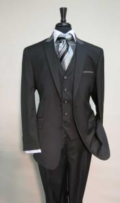 Pocket Peak Lapel Black Suit With Grey Collar Vested Suit