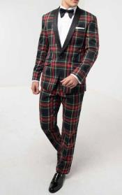 Green Tartan Tuxedo with Contrast Shawl Lapel